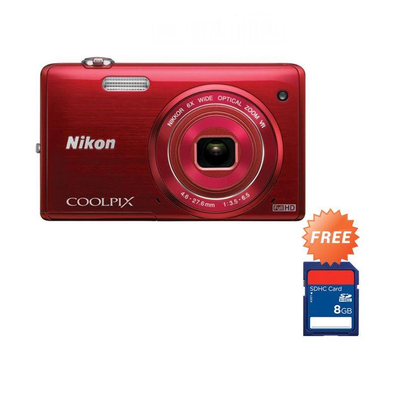 Nikon Coolpix S5200 Merah Wifi Gratis SDHC 8GB