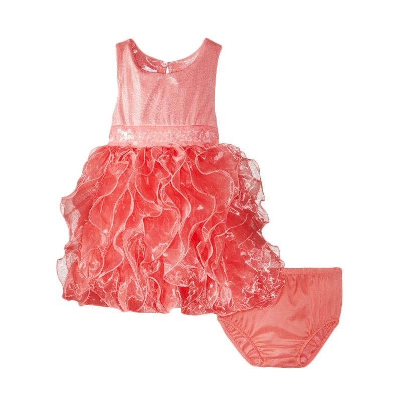Bonnie Jean Cascade Organza Coral Dress Anak