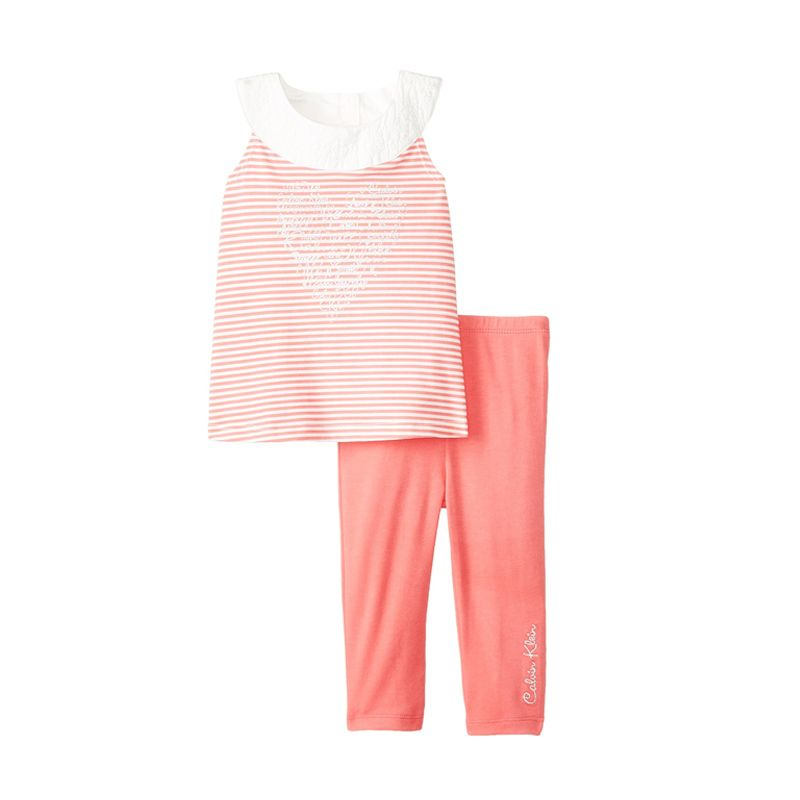Calvin Klein Baby Girls' Striped Tunic with Coral Legging Baju Anak Perempuan