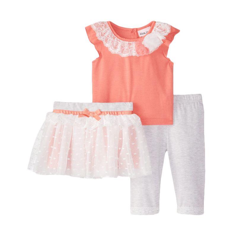 Little Lass Baby Girls' Crochet Lace Tutu Skimmer Setelan Anak Perempuan [3 pcs]