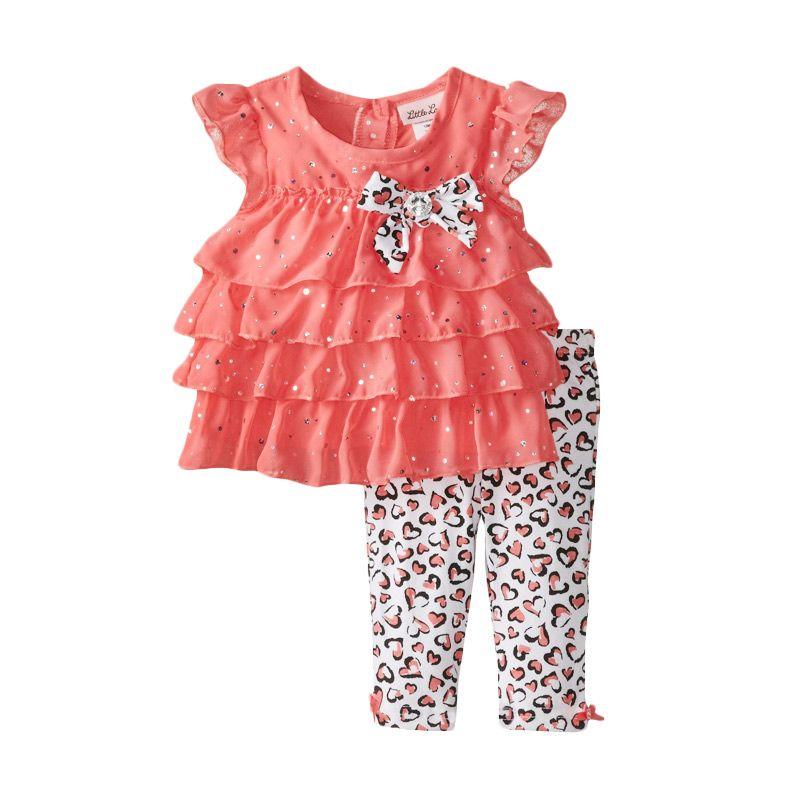 Little Lass Baby Girls' Tiered Chiffon W Disco Dots Bow Capri Setelan Anak Perempuan