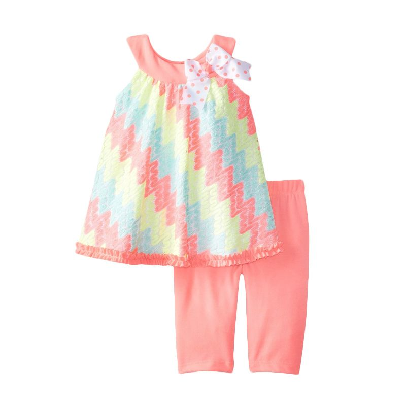 Rare Editions Baby Girls' Multi Color Chevron Capri Setelan Anak Perempuan