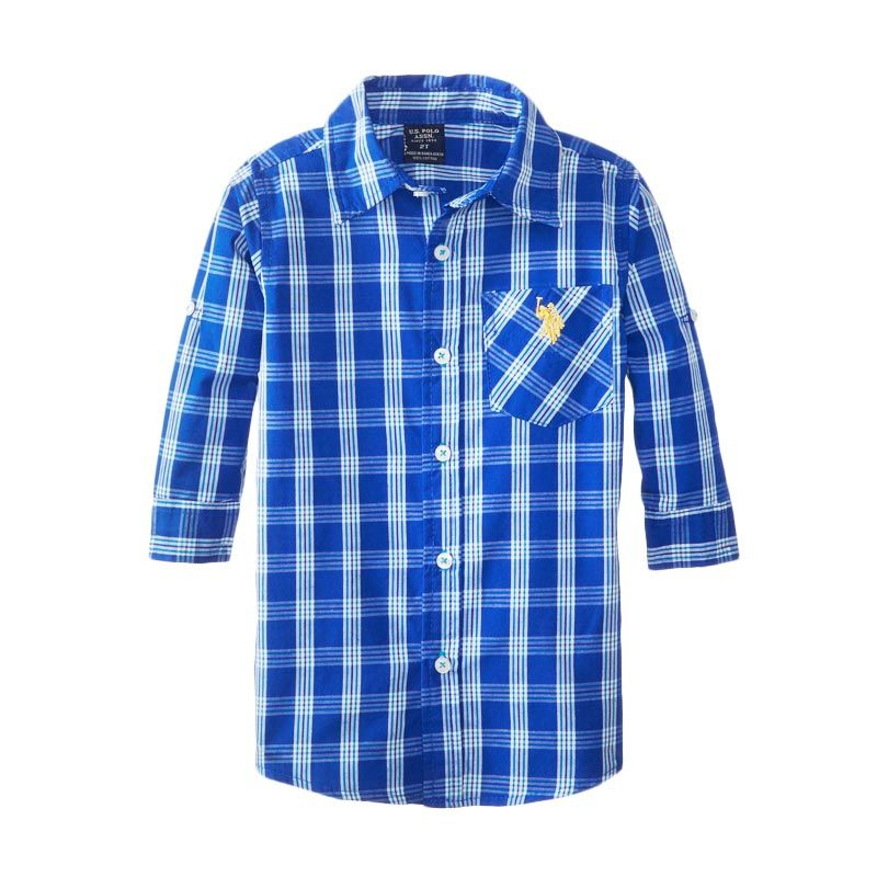 U.S. Polo Assn Little Boys' Plaid Sport Setelan Anak Laki-Laki