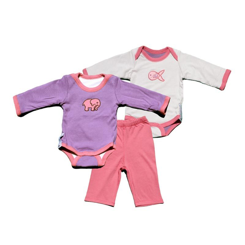 Turnovers Reversible Two Piece Set Cloud/Grapevine With Guppie & Elephant Applique