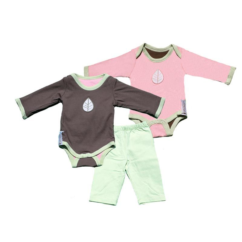 Turnovers Reversible Two Piece Set Pinecone/ Petal Pink With Leaf Applique