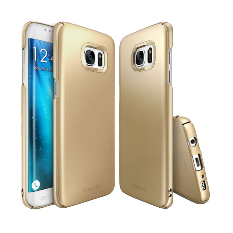 Rearth Ringke Slim Casing for Samsung Galaxy S7 Edge - Gold