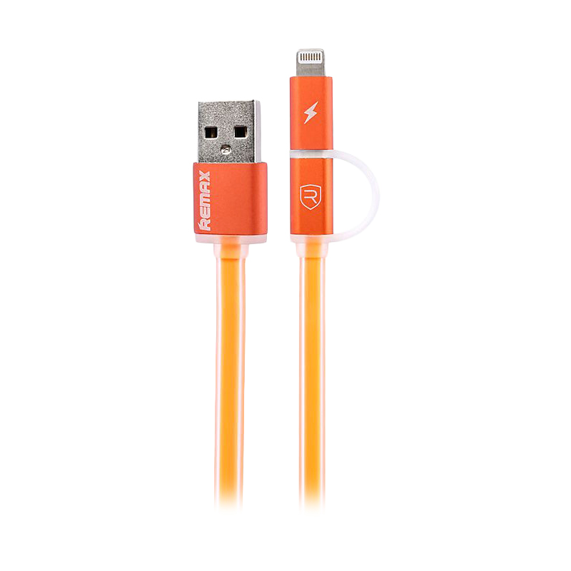 Remax Aurora 2in1 Micro USB with Lightning Cable – Oranye
