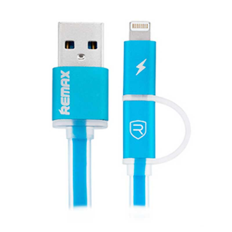 Remax Aurora Cable for Smartphone and iPhone 5 or 6 - Biru [High Speed/2in1/1 m]
