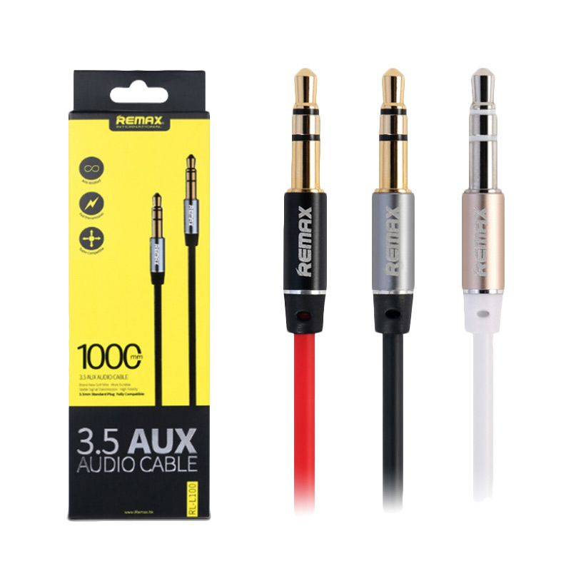 Remax Premium AUX Cable for Headphone or Speaker or Smartphone - Hitam [2000 mm/ 3.5 mm]