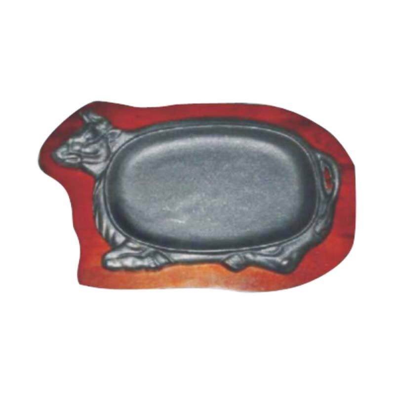 Restomart Bull Head Hot Plate with Wooden Base