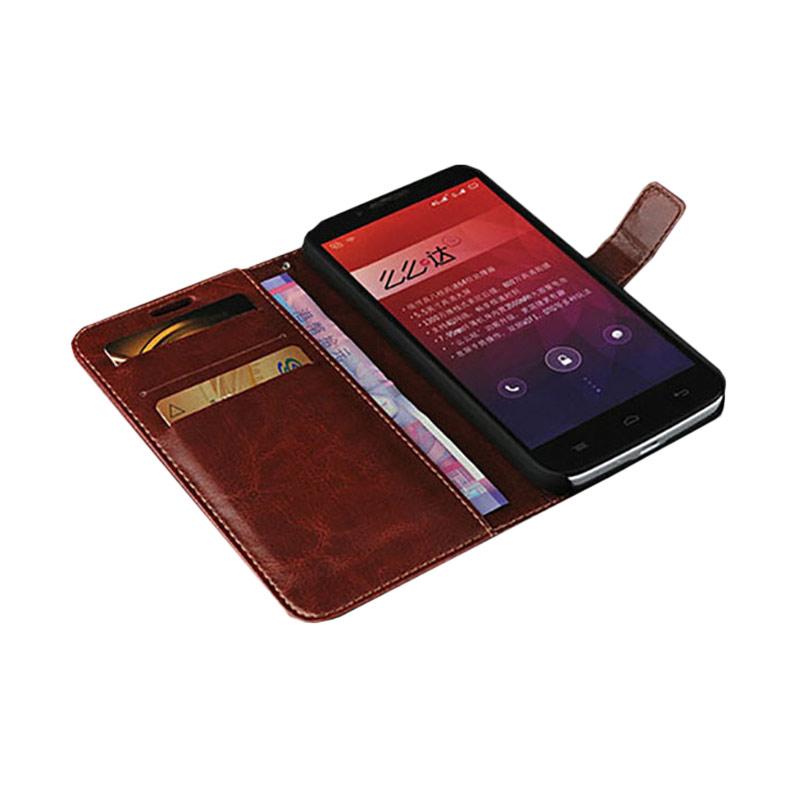 harga Retro Luxury Wallet Flip Cover Casing for Alcatel Onetouch Flash Plus - Brown Blibli.com