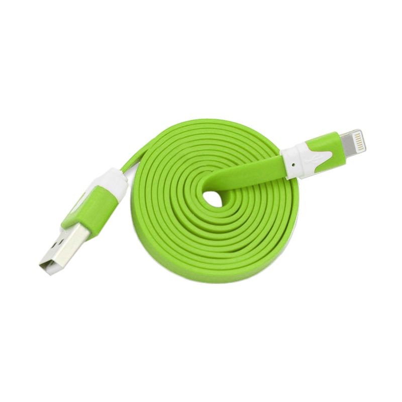 Rhaya Grosir Flat Green USB Data Cable for iPhone 5 [1 m]