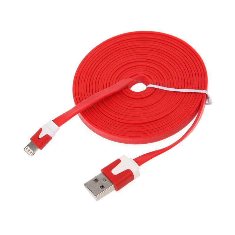 Rhaya Grosir Flat Red USB Data Cable for Iphone 5 [3 m]