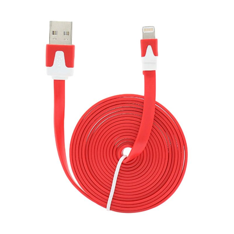 Rhaya Grosir Flat Red USB Data Cable for iPhone 5 [2 m]