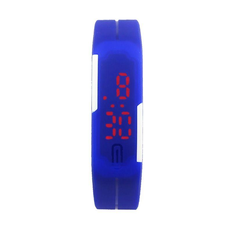 Rhaya Grosir LED Sporty Biru Tua Jam Tangan Pria