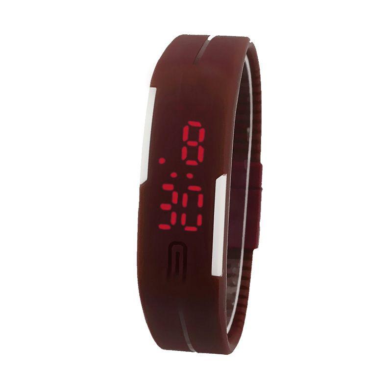 Rhaya Grosir LED Sporty Cokelat Jam Tangan Pria