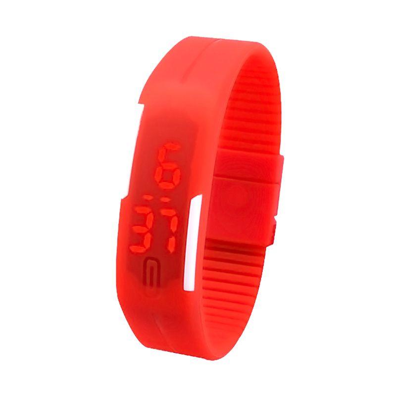 Rhaya Grosir LED Sporty Merah Jam Tangan Pria