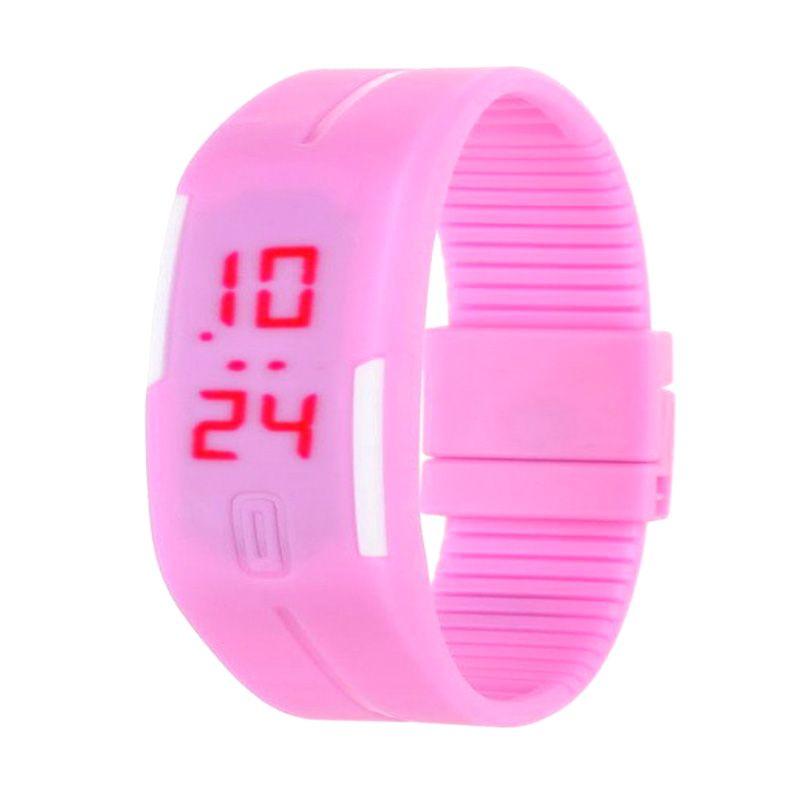 Rhaya Grosir LED Sporty Pink Jam Tangan Pria