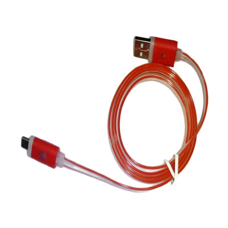 Rhaya Grosir LED Storm Merah USB Data Cable