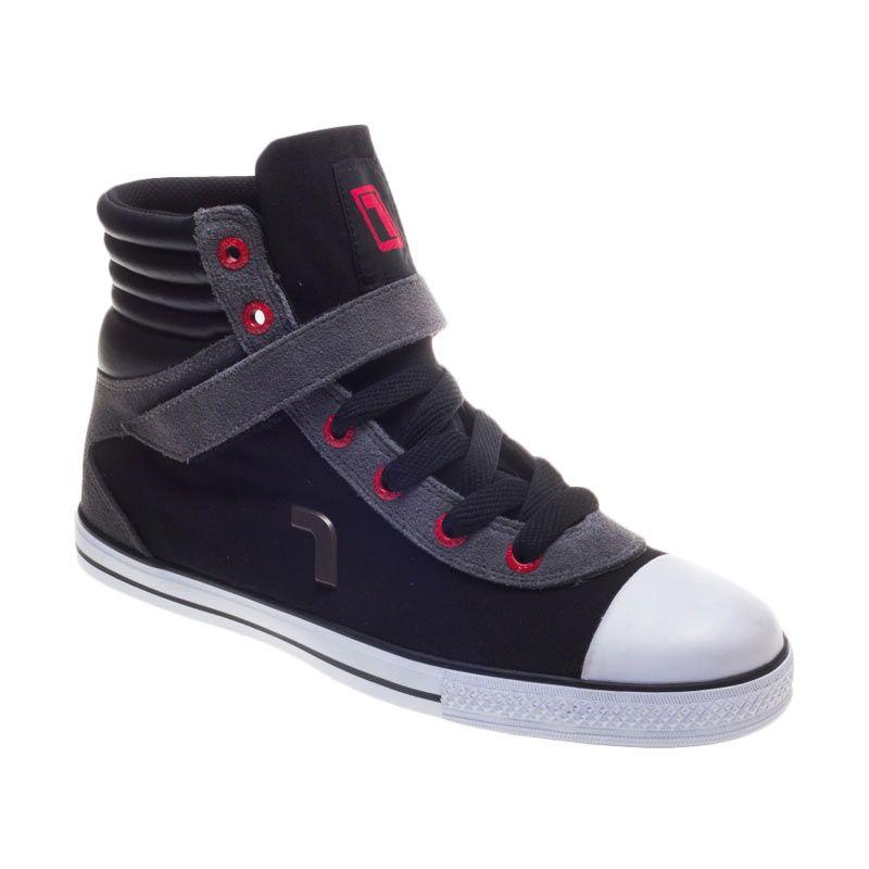 Rhumell Hi Rock Black Grey Sepatu Sneakers Pria