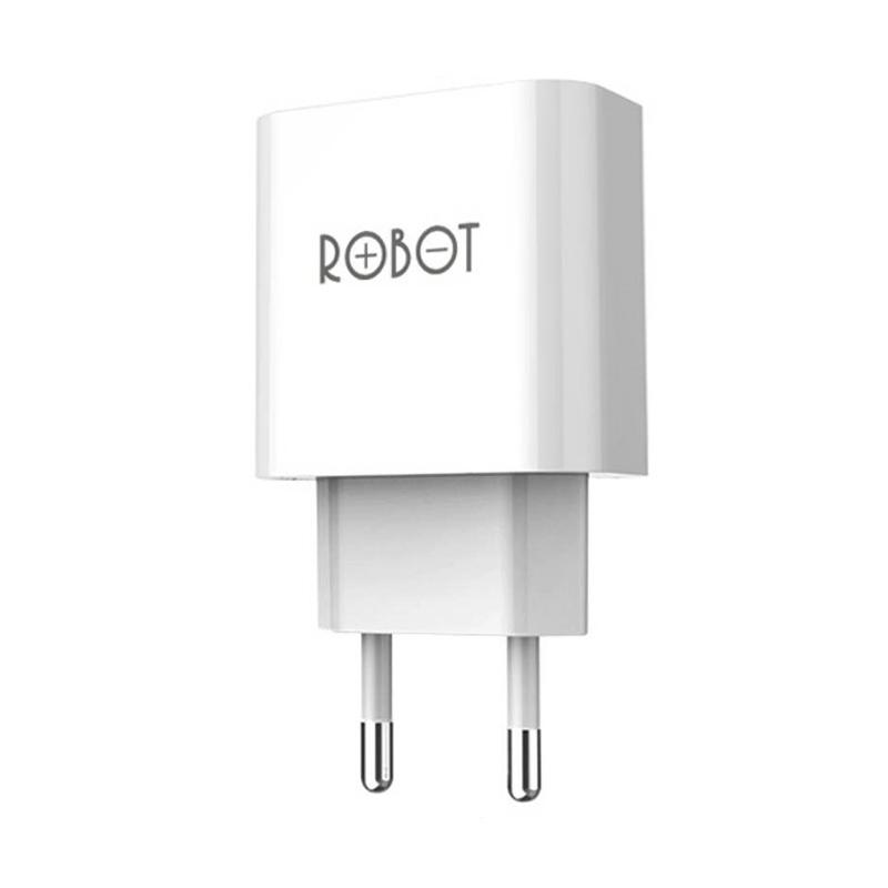 ROBOT RT-C04 Smart Dual USB Power Adapter - Putih [2.1A/1A]
