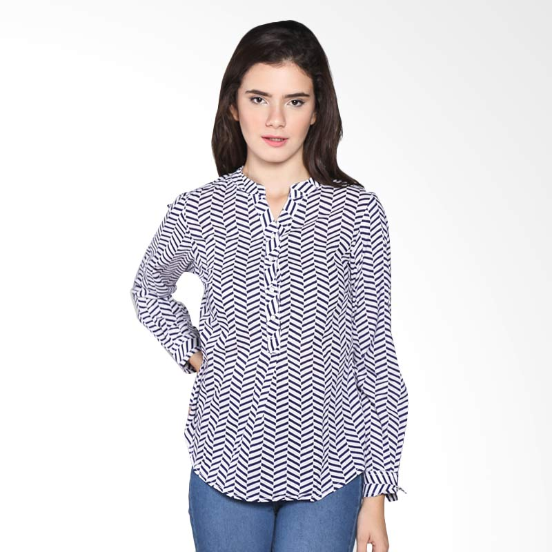 Rodeo Blouse Shirt Motif 26.0616.2NV Atasan Wanita - Navy