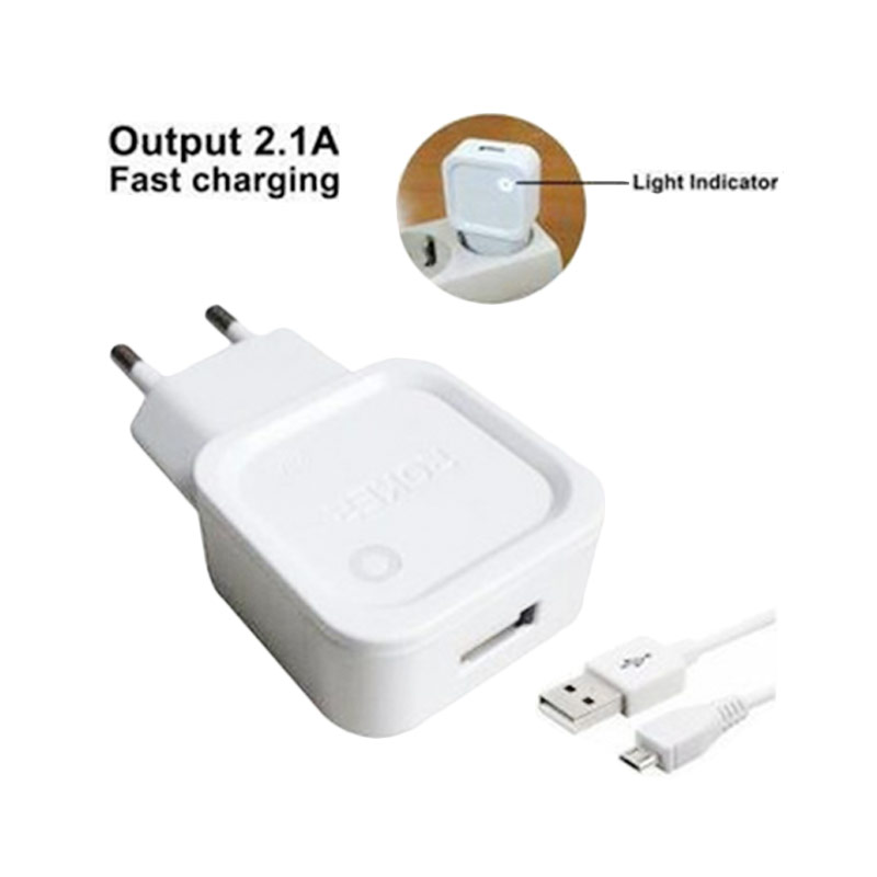 Roker Fast Charging Micro 5 pin Charger for Asus/Xiaomi - White [2.1A]
