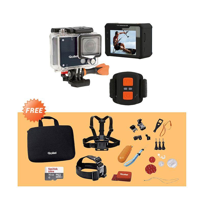 harga Promo Rollei 420 Action Cam - Black [4K] + Free Rollei Set Water Sport + Micro SD 16GB Blibli.com