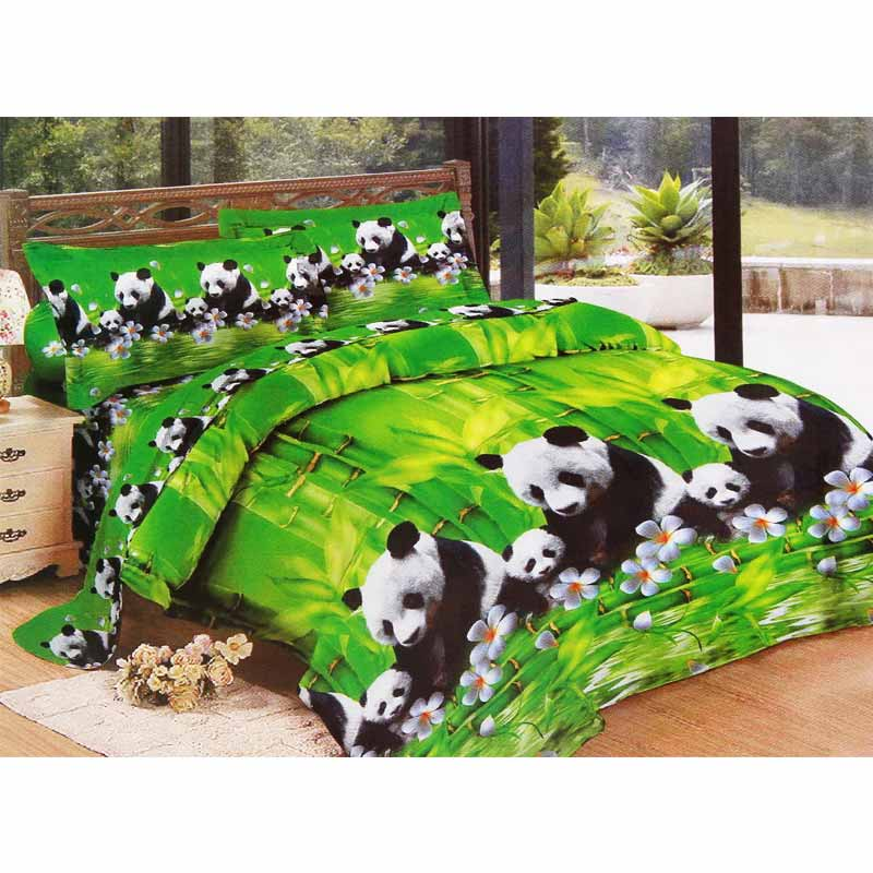 Ronaco Bonita Rose Panda Set Sprei - Hijau [180 x 200 cm]