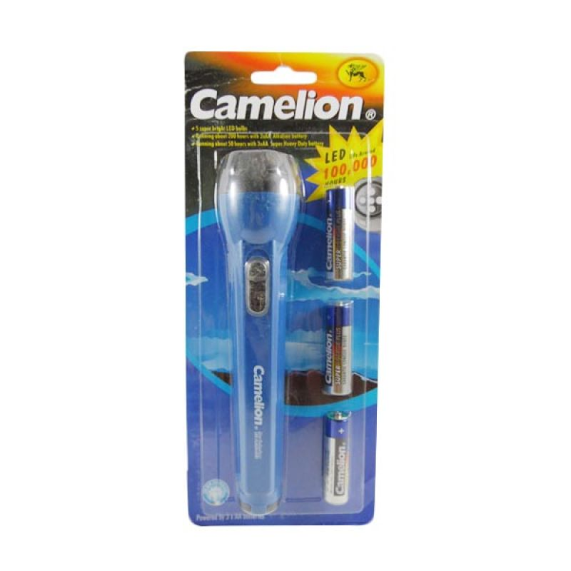 Camelion Flashlight Biru Senter + Baterai AA [3 pcs]