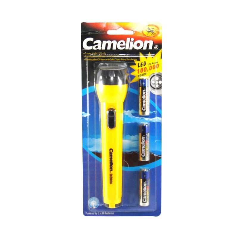 Camelion Flashlight Kuning Senter + 3 Pcs Baterai AA