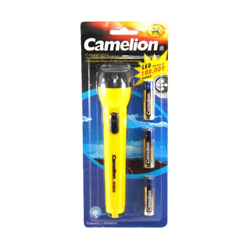 Camelion Kuning Senter Flashlight + Baterai AA [3 Pcs]