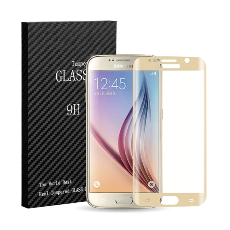 9H Tempered Glass Full Screen Gold Screen Protector for Samsung Galaxy S6 Edge