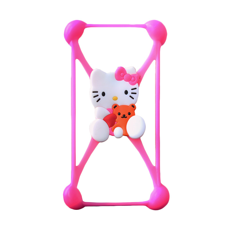 Rubber Kittie Bumper Casing for Smartphone - Pink