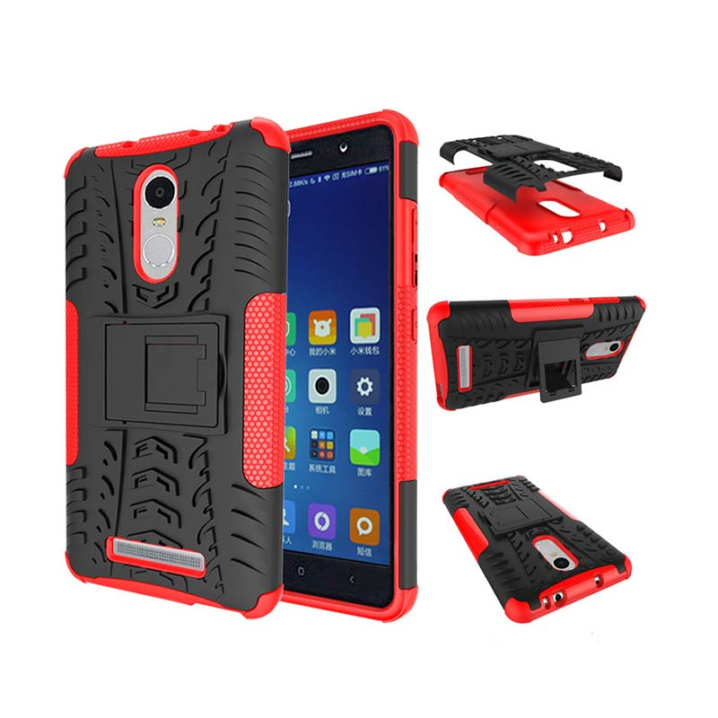 outlet store 8e4b6 22988 Rugged Armor Kickstand Otterbox Back Cover Robot Casing for Xiaomi Redmi  Note 3 - Merah
