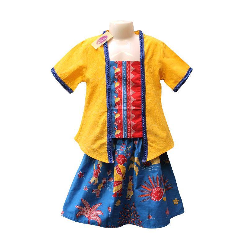Rumah Voila Kebaya Batik Ondel Betawi Kuning Biru Benhur Setelan Anak Perempuan