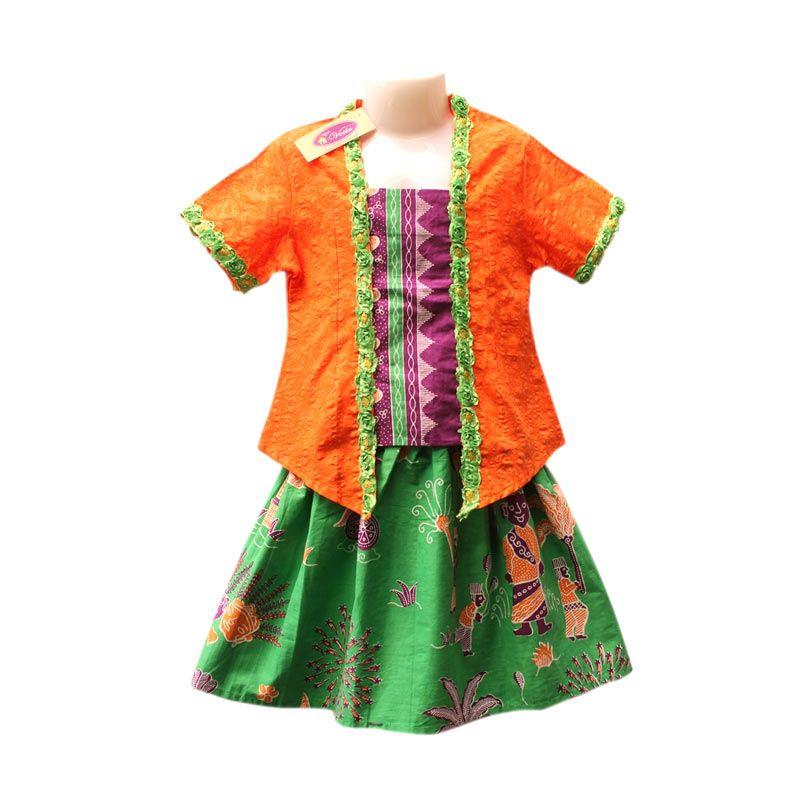 Rumah Voila Kebaya Batik Ondel Betawi Oranye Hijau Daun Setelan Anak Perempuan