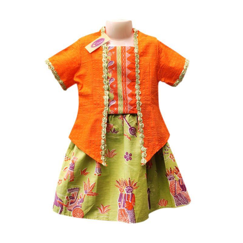 Rumah Voila Kebaya Batik Ondel Betawi Oranye Hijau Muda Setelan Anak Perempuan