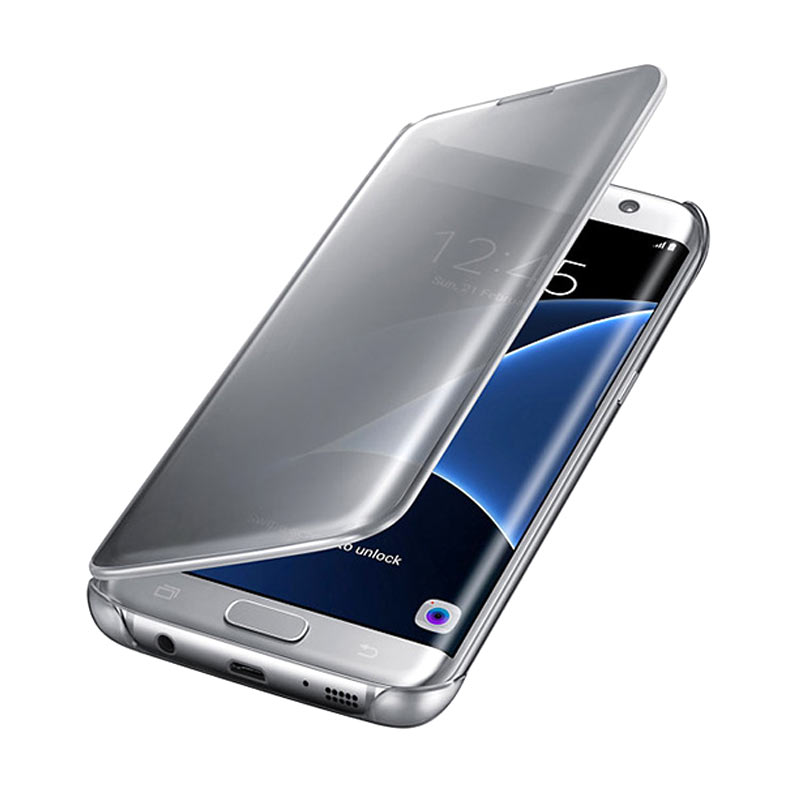 Samsung Clear View Cover Casing for Galaxy S7 Edge - Silver