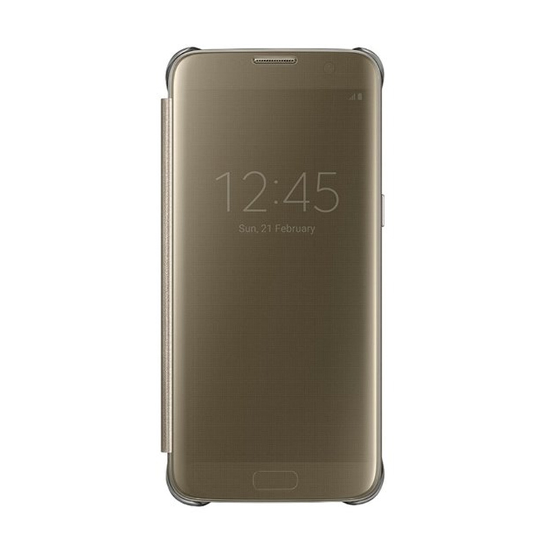 Samsung Clear View Window Flipcover Casing for Samsung S7 Edge - Gold