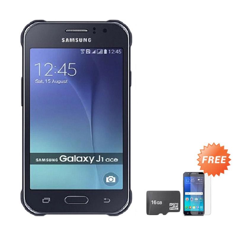 Samsung Galaxy J111 4G 2016 Smartphone - Black [4 GB/768 MB] + Free Anti Gores Screen Protector + MicroSD Memory Card 16 GB