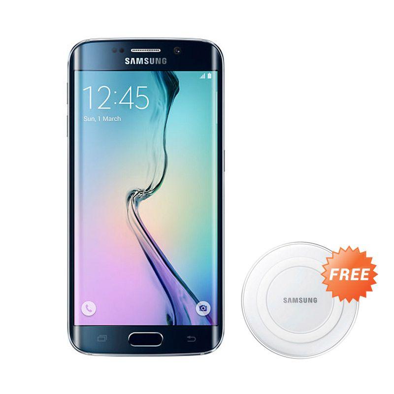 Samsung Galaxy S6 Edge Black Smartphone + Wireless Charger Pad White