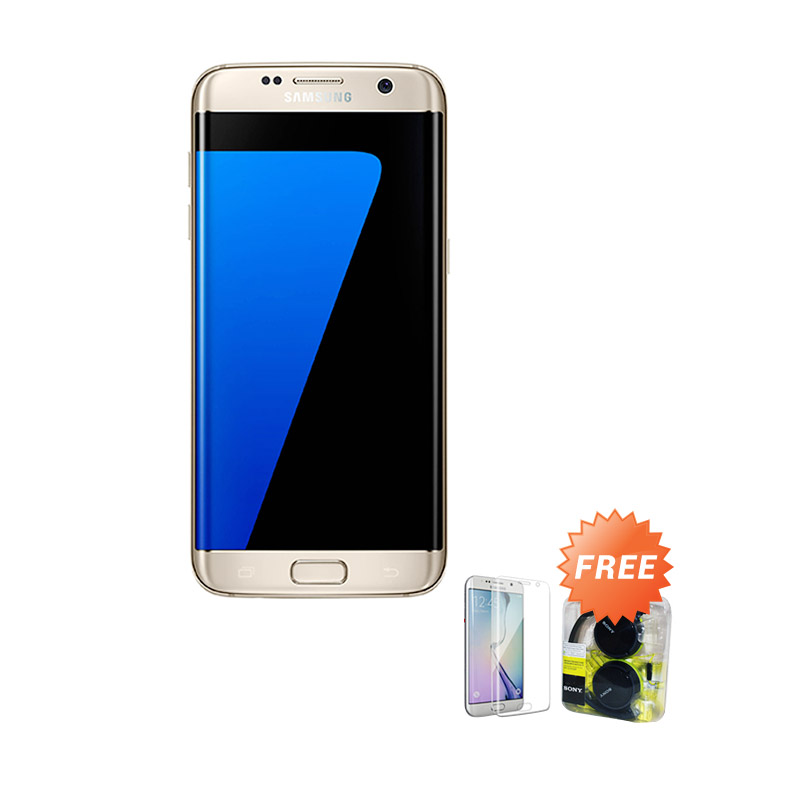 Samsung Galaxy S7 Edge Smartphone - Gold + Free Anti Gores + Headset Sony MDR ZX310AP