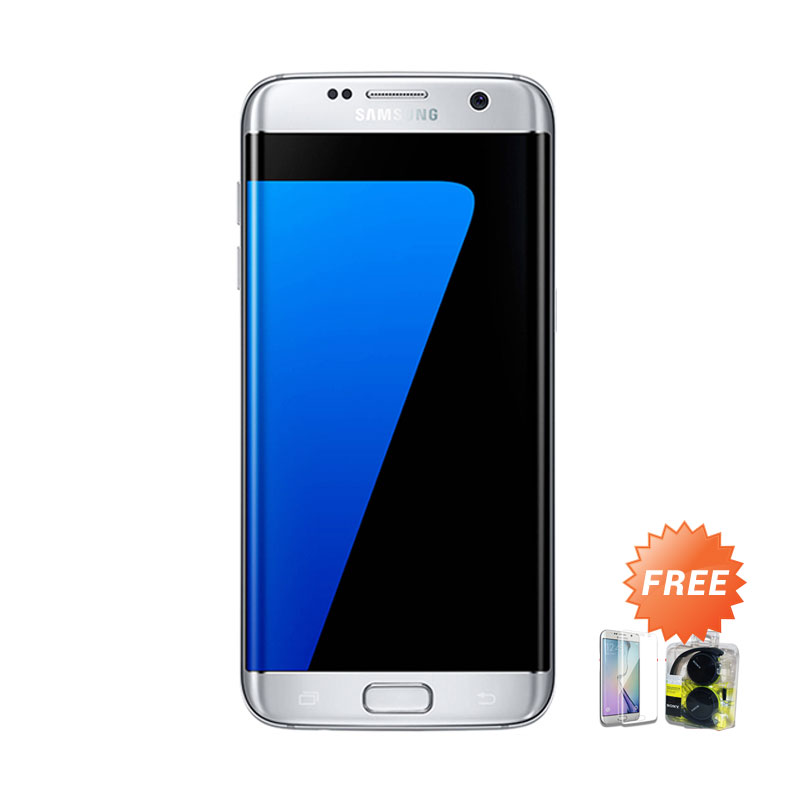 Samsung Galaxy S7 Edge Smartphone - Silver + Free Anti Gores + Headset Sony MDR ZX310AP