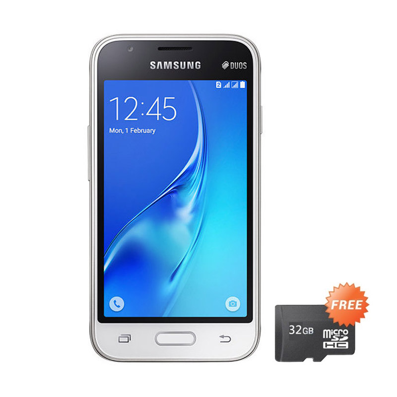 harga Samsung J1 Mini Duos 2016 J105 Smartphone - White + Free MicroSD 32 GB Blibli.com