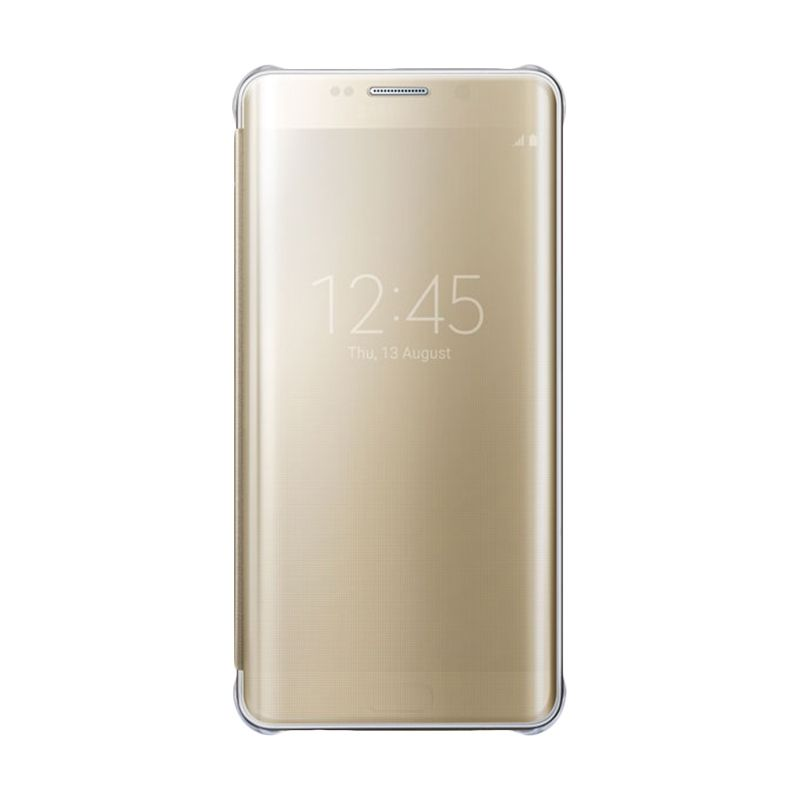 Samsung Original Clear S-View Silver Flip Gold for Samsung Galaxy S6 Edge Plus