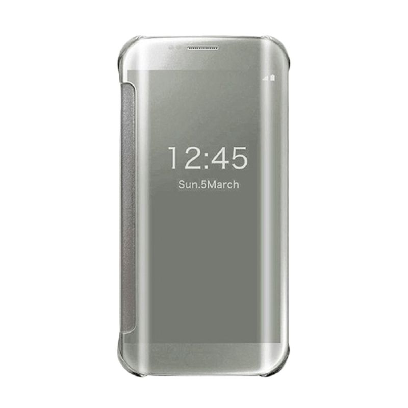Samsung Original Clear S-View Silver Flip Cover for Samsung Galaxy S6 Edge Plus