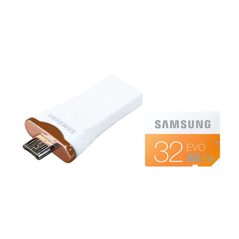 Samsung OTG Multifungsi + Micro SDHC Evo 32GB - White