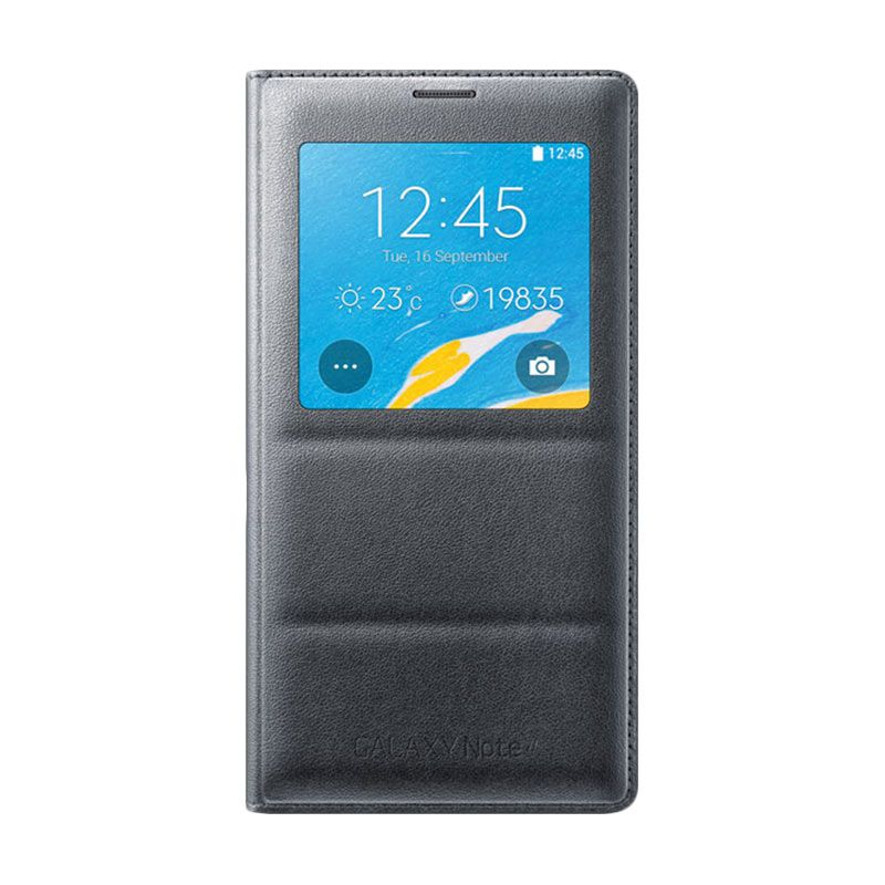 Samsung S-View Flip Cover Black Casing Original for Samsung Galaxy Note 4