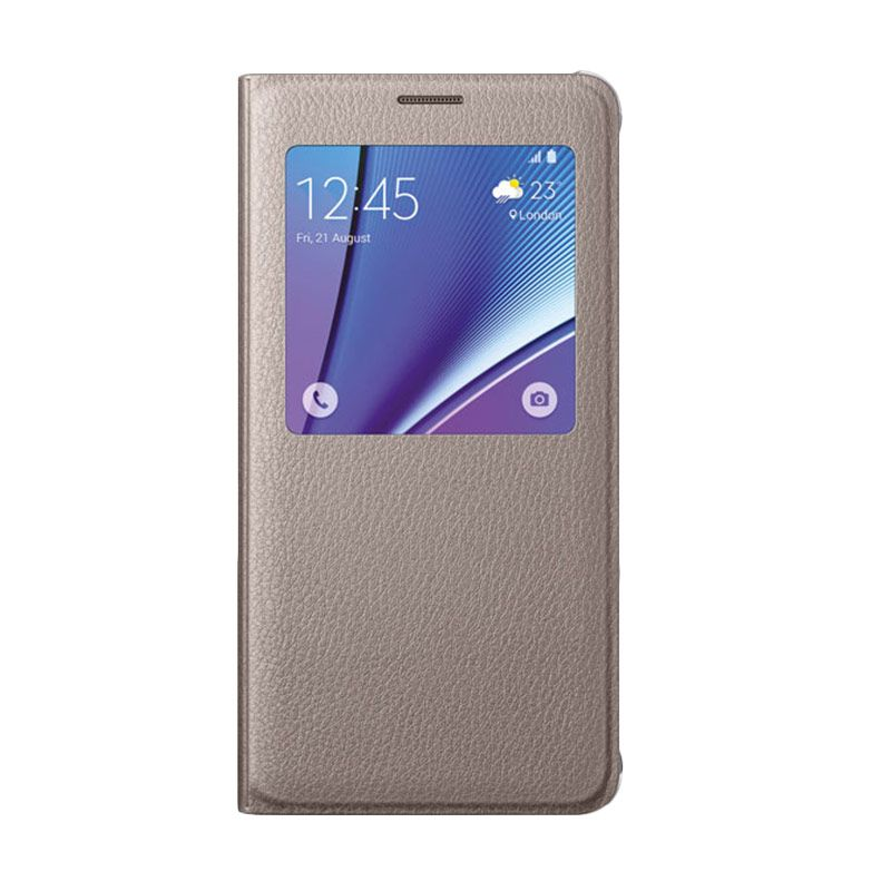 Samsung S View Flip Cover Gold Casing for Samsung Galaxy Note 5